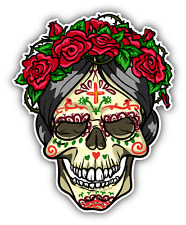 """Rose Skull Day Of The Dead Car Bumper Sticker Decal 4"""" x 5"""""""