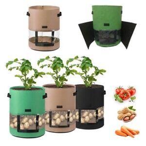 7/10 Gal Reusable Potato Planting Grow Bag Window Planter Veg Pots Home Garden