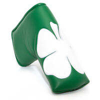 Green Leather Blade Putter Cover Headcover White Lucky Clover Magnetic Closure