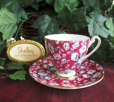 SHELLEY FINE BONE CHINA   **RED TAPESTRY ROSE** #14284 C/S  RIPON Shape
