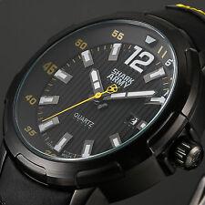 SHARK ARMY Fashion Mens Date Black Leather Steel Quartz Sport Wrist Watch+Box
