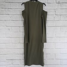 The Limited Green Long Sleeve Cold Shoulder Ribbed Dress Womens Large Cotton