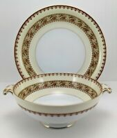 Vintage Meito China Asama Shape Footed Cream Soup Bowl & Saucer Set Gold Trim