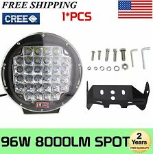 """9""""inch 96W Cree Led Round Work Driving Light SpotLamp Offroad 4X4Wd Truck Black"""