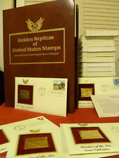 LOT OF 90 22 KT GOLD POSTAGE STAMP REPLICAS + FIRST DAY ISSUES + KEEPSAKE ALBUM