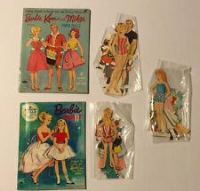 1960s Vintage Barbie Paper Dolls w/ Ken Midge Skipper 3 Play Sets Dress-Up Toys
