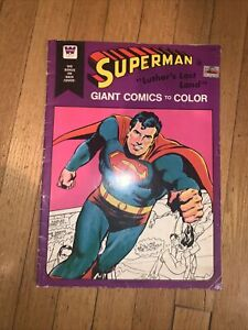 SUPERMAN, GIANT COMICS TO COLOR, COLORING BOOK, LUTHOR'S LOST LAND, USED, 1975