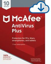 MCAFEE ANTIVIRUS PLUS 2018 - 10 DEVICES - 1 YR PC MAC ANDROID IOS IPHONE