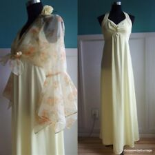 VTG yellow empire maxi dress sheer orange flower bell sleeve bolero corsage pin