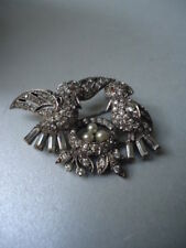 Vintage CIRO Rare Love Birds Nest Solid & Pearl Eggs Silver Paste Brooch Nr Mint