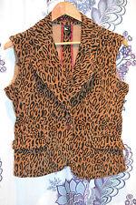 Womens Juniors Kikit Jeans Leopard Print Vest Sz S Pockets