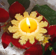 Handmade 100% Beeswax Candles - set of 2 floating snowflakes
