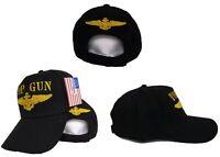 Embroidered Black Military US Navy Top Gun Baseball Hat Cap Cotton/Poly Premium