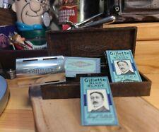 WWII era Gillette Tech made in England  Bakelite case aluminum & brass razor vtg