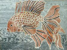 "32""x 24"" Handmade Big Orange Gold Fish Cute Lovely Sea Marble Mosaic Art Stone"