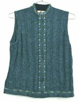 Woolrich Women's Large Wool Blend Heather Sleeveless Zip Up Knit Sweater Vest