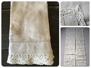 "Vintage Lace Edge Tablecloth Runner - Linen - Beige - 60"" x 29"""