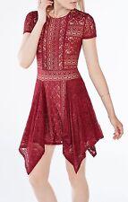 NWT New BCBGMAXAZRIA Aileen Floral Lace Dress Cranberry Size M Ret. $228