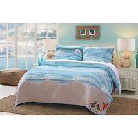 BEAUTIFUL BEACH BLUE AQUA TEAL GREY SEASHELL NAUTICAL WAVE OCEAN CORAL QUILT SET