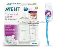 Philips Avent Natural Lactation Feeding Bottle 2 x 260ml + Brush Value Pack