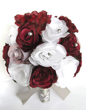 Wedding Bouquets 17 piece Bridal Silk Flowers package BURGUNDY Wine GRAY SILVER