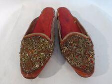 VTG red Velvet Gold Metallic Embroidery Sequins Pakistan sz 41-44
