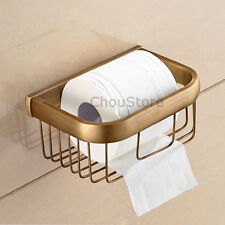 Square Bathroom Wall Mount Toilet Paper Roll Holder Tissue Storage Wire Basket