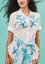 Antica Sartoria Positano 100% Cotone Cotton Camicia Bianco Blu White Shirt L