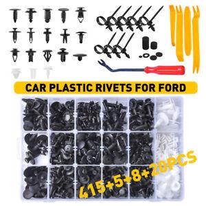 415X Automotive Plastic Rivets Fastener Bumper Push Pin Clips + Remover Tool Kit
