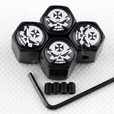 Air Dust Cap Wheel Tire Tyre Valve Cover Cross Skull Pirate Emblem Anti Theft 4X