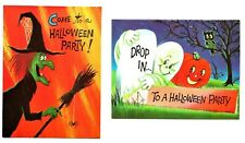 2 Vintage Norcross 1960's Halloween Party Invitation Card Witch, Ghost, Owl, Jol