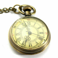 Antique Vintage Bronze Glass Steampunk Pocket Watch Chain Necklace Pendant