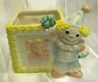 VINTAGE CERAMIC BABY BLUE SQUARE CUBE PLANTER WITH CLOWN