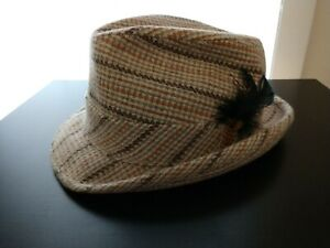 Men's Striped Wool Trilby Fedora Hat with Feather Size 7 3/8