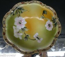 """Antique Hand Painted 9"""" NIPPON BOWL Scalloped Gold Rim Dogwood Blooms Signed"""
