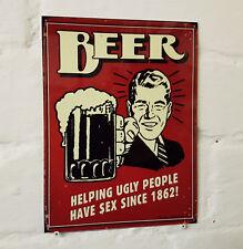 Cerveza Ayudando Gente Fea Tener Sexo, Retro Vintage Pub Bar signos de Aluminio de Metal