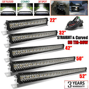 52/50/42/32/22'' inch 9D Curved Tri Row LED Light Bar Spot Flood Driving Offroad