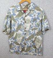 Caribbean Joe Men's Hawaiian Shirt Size Medium Short Sleeve Floral Spa Blue Tan