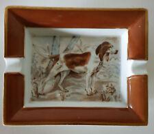 HERMÈS ANCIEN GRAND CENDRIER VIDE-POCHE en PORCELAINE CHIEN de CHASSE n° 331 XXè