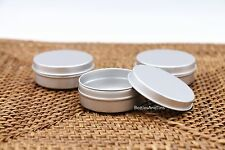 12*Empty Cosmetic Pot Tin Silver Container 1oz SLIP lid Jar EPE inserts