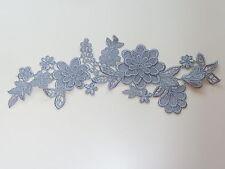 26cm by 7cm BEAUTIFUL APPLIQUE 3d GUIPURE VENISE FLOWER IN SILVER / GREY AP109