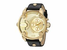 Diesel DZ7363 Little Daddy All Gold Dial Black Leather Band 51MM AUTHENTIC NEW