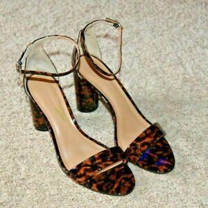 Banana Republic Women's Patent Leather Leopard Peep Ankle Strap Block Heel 9 NEW