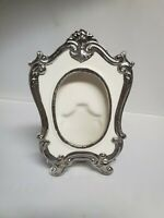 Vintage White Porcelain Photo Picture Frame Ornate Silver oval Trim Accents