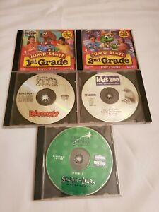 Kids Children's 5 PC CD Lot Jump Start 1st 2nd Grade Kid's Zoo Dinosoft & more