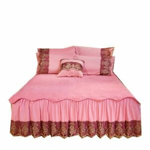 Vintage Lace Velvet Ruffle Skirt Bedspread King Queen Size Quilted Soft Zippered