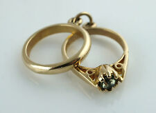 Vintage 9ct Yellow Gold Wedding & Engagement Rings Charm / Pendant - 2.35 gr