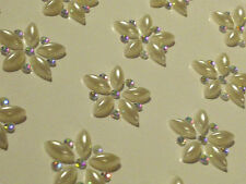 12 x 25mm Self Adhesive DIAMANTE & PEARL Flowers Stick on Gems Wedding CRAFT