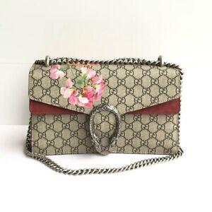 Authentic Gucci GG Blooms Supreme Dionysus Red Medium Shoulder Bag