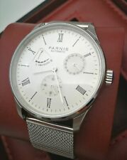 Reserve Automatic Men's Watch Mesh Strap New 42mm Parnis White Dial Date Power